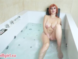 hot busty redhead masturbates in jacuzzi
