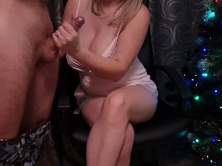 Christmas present for husband is jerking off his fat cock