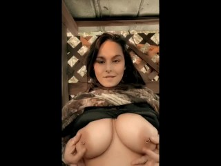 Huntress Filakia Flashes Big Natural Pierced Tits in the Deer Stand
