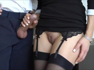 Horny secretary pleasing her new boss