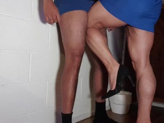 Thick Big Muscular Calves Ball Busting and Dominating