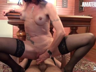 LaCochonne - Perfect Tits French MILF Lyna Cypher Squirts and Fucks on Pool Table - AmateurEuro
