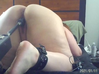 Using my fucking machine with my black cock until I cream all over it!!