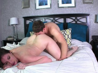 Hot Wife with Big Tits Fucks Another Man While Her Husband Watches on His Birthday