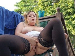 Sexy BBW Squirting on Balcony While Neighbors are Out
