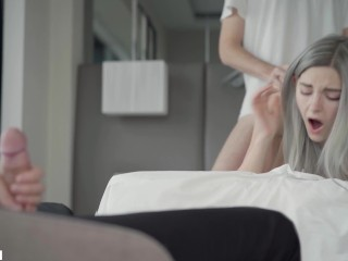Cuckold watches his busty girl being creampied by a stranger - Eva Elfie