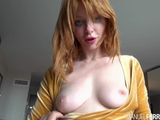 Ravishing Redhead Lacy Lennon Seductively Stares At You While Sucking Manuel's Dick