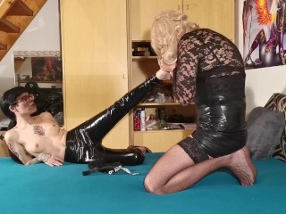 Latex domina kiss & faceride her new cd tv sissy slave toy pt1 HD