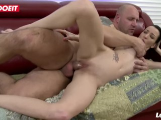 LETSDOEIT - Naughty Petite French Teen Rides Daddy's Big Cock