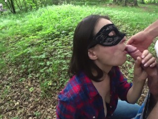 Babe Deep Sucking Big Cock in the Forest - Cum in Mouth