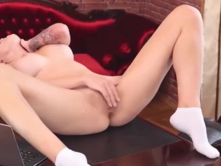 babe with glasses slowly gets naked and plays on table 4k