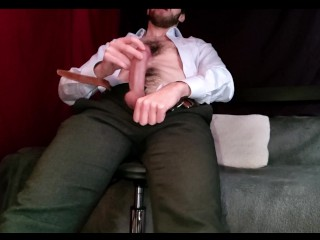 Young straight guy masturbates and cums twice while watching porn