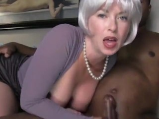 Blonde wife and her shy black man