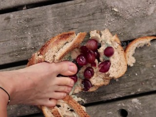 Here is your breakfast, enjoy! | Crushing Moldy Bread With Grape