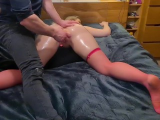 Oiled up as and pussy then fucked