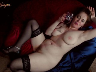 Hot russian mom teases and plays with wine on her sexy body