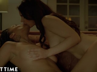 ADULT TIME Stacked Lesbians Julie Kay & Valentina Nappi 69 By The Fire