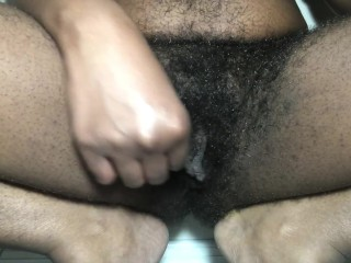 Playing with my hairy pussy while my sister makes dinner