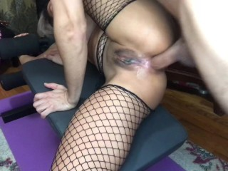 Amori Squirts From Anal In Her Fishnets