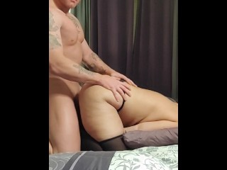 Thick white girl with fat ass riding white cock...
