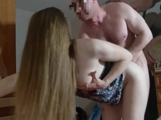 Milk pours out of her as she sits deep on cock (milk squirt)