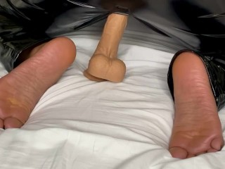 Black Girl Shows Off Her Feet While Riding a Vibrating/Thrusting Dildo