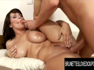 Brunettes Love Dick - Wild Oiled up Sex With Kristi Klenots Amazing Boobs