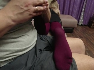 SEXY SOLES FEET FETISH GIRL IN red pantyhose