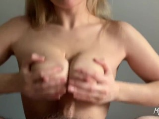 blonde with natural tits twerks on my cock and gives me titjob MyShinyGirl