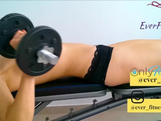 Hot fitness girl working out chest! MUSCLE TEASE. Topless