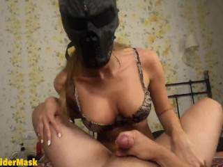 Pov. Mistress in sexy lingerie with strapon pegging her boy. Short version