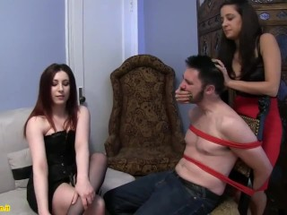 double femdom brunette milf and redhead hand over mouth and stocking smelling domination