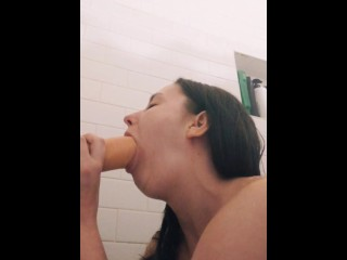 Good slut gags in the shower, want more add snap lakelife2121