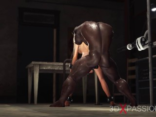 Fucking machine. Horny sexy slave gets fucked by a black big cock